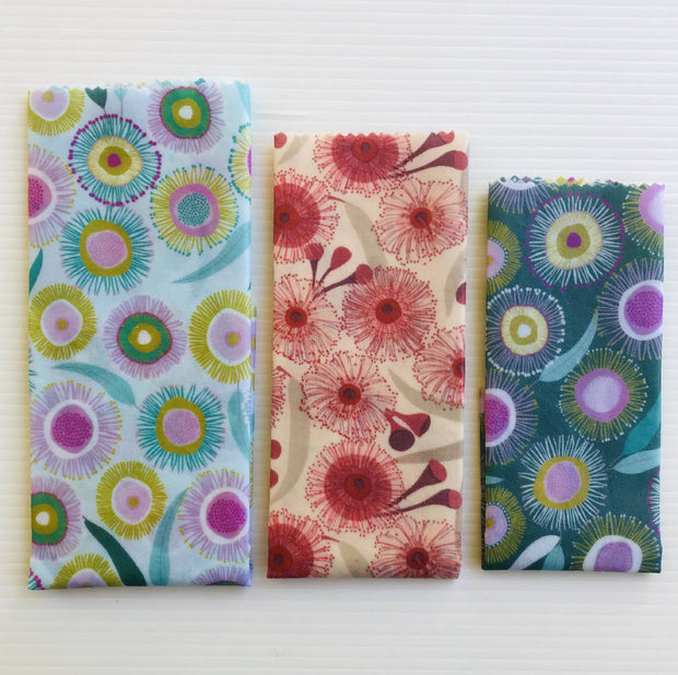 Large Reusable Beeswax Wrap pack of 3