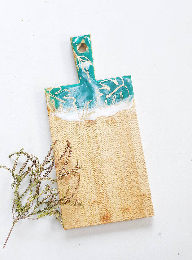 Botanical Styled- Green Bamboo Cheeseboard with a Cheese Knife