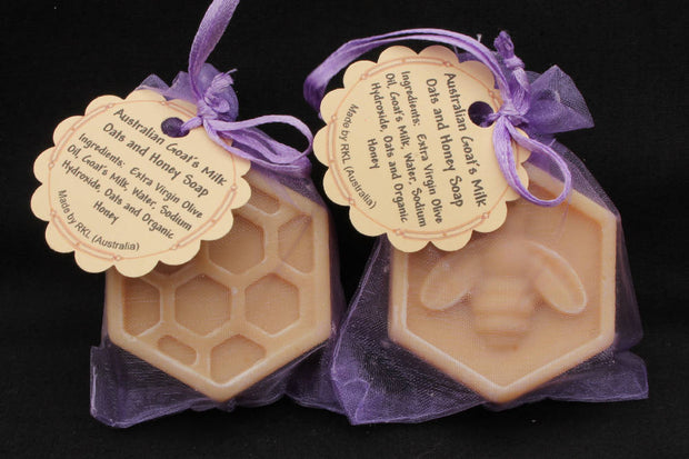 Goat's milk oats and honey, guest or travel soap - in organza bag 20 pcs