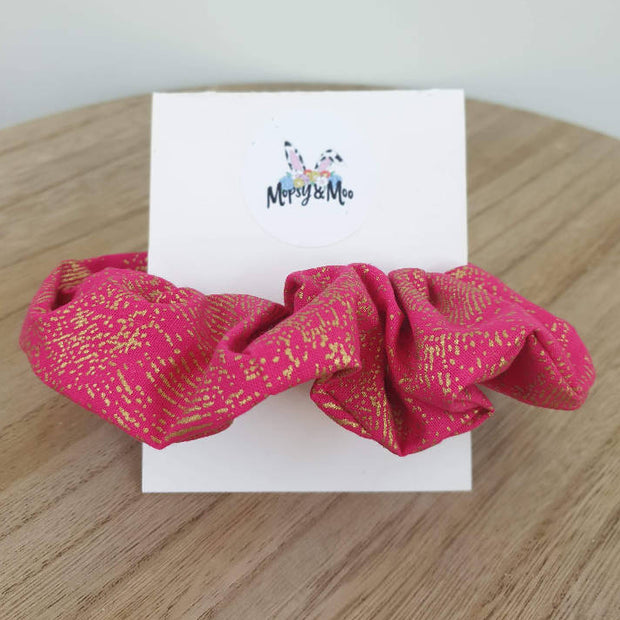 Pink and Gold Print Scrunchies