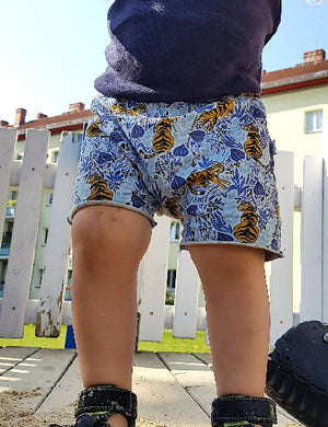 tiger kids shorts, raw edges shorts, blue toddler shorts
