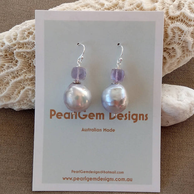 Sterling Silver Freshwater Baroque Pearl lavender Amethyst Earrings