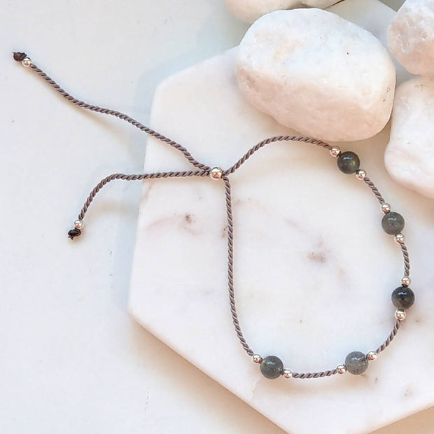 Sterling Silver, Labradorite Silk adjustable stacking bracelet