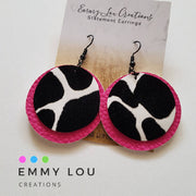 Double Layer Pink Cow Faux Leather Earrings