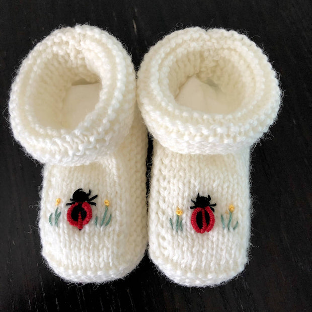 Newborn sets - various designs - hand knitted & embroidered merino booties & bonnet