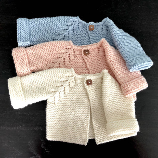 Hand knitted wool baby cardigan - 'Norwegian Fir' design - 4 colours