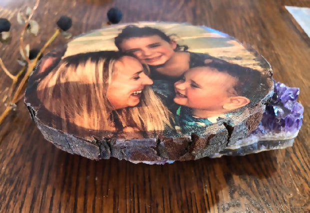 Wood slice magnet, Rustic custom gift, Boho photo magnet, Print on wood slice, Natural timber custom gift, Gift for him, family keepsake