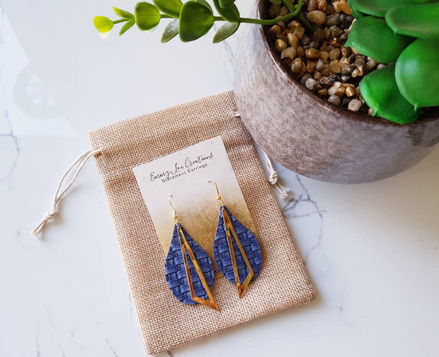 Brilliant Blue Weaved Faux Leather Earrings with Gold Pendant