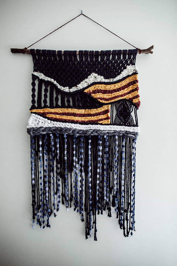 Large macrame macraweave wall hanging 'Stratum by the Sea'