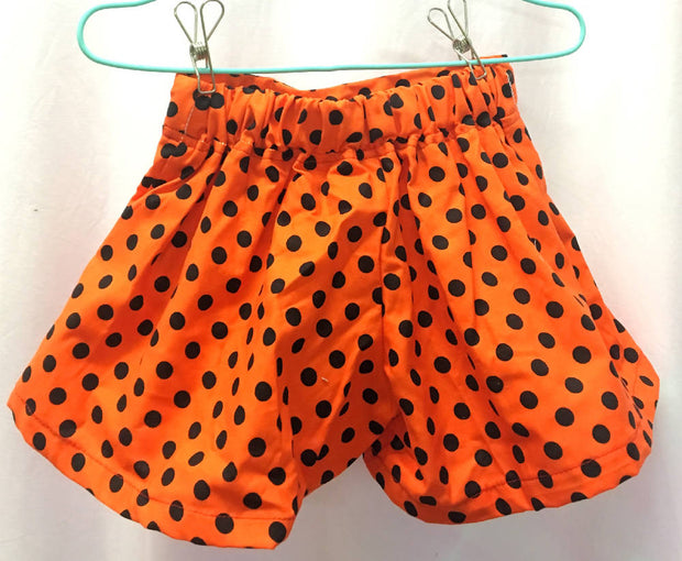 Orange polka dot cotton shorts