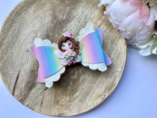Rainbow sparkly fairy clay glitter hair bow, floral baby bow, hair accessories, baby shower iso birthday stocking stuffer gift