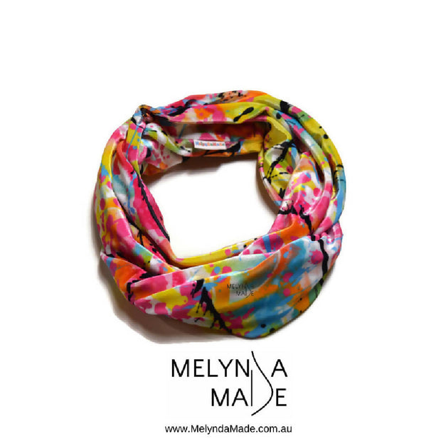 MelyndaMade Adult Infinity Scarf - Velvet in Action Painting