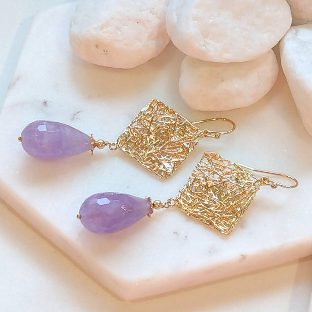 Lavender Amethyst crazy wire Diamond Gold Earrings