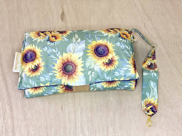 Sage Sunflowers - All In One Nappy Wallet