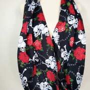 Skull and roses print infinity scarf