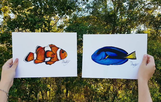 Clownfish and Blue Tang Hand Embellished Art Print Pair - A4 -- LIMITED EDITION --