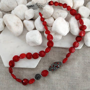 Red Bamboo Coral, Rhinestone and Coral studded bead Necklace