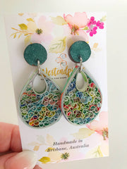 Multi swirls quilled earrings - you won't believe it's paper!