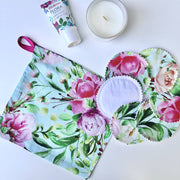 Aqua Floral Reusable Cleansing Pads & Wash Bag Sets
