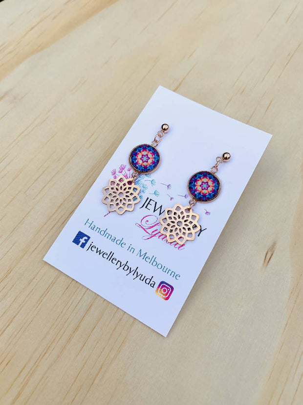 Stainless Steel Rose Gold Blue Mandala Drop earrings