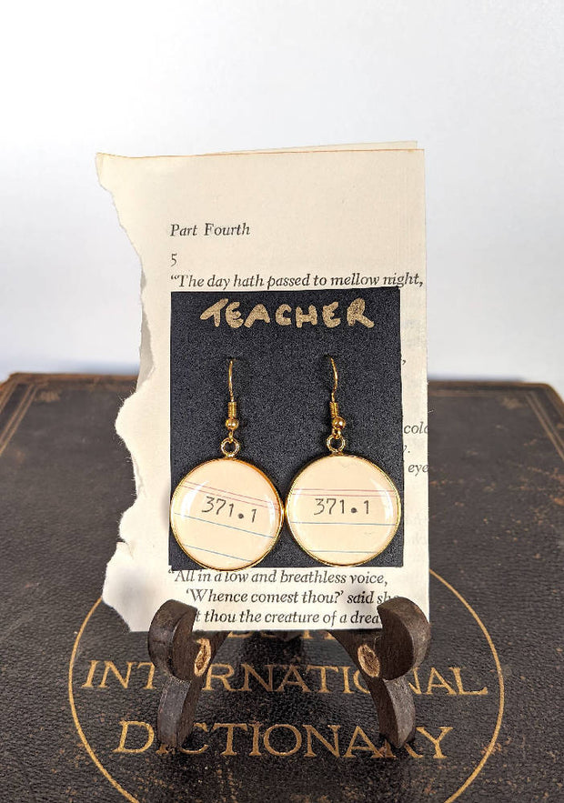Teacher (371.1) Dewey Decimal System Earrings.