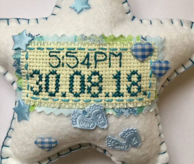New baby sampler personalised keepsake