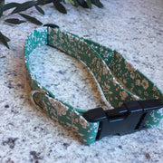 Dog Collar and Bandana Set Green Floral