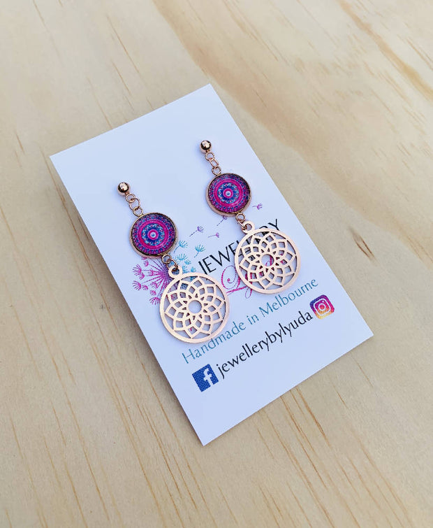 Stainless Steel Rose Gold Pink Mandala Drop Earrings