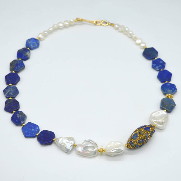 Lapis Lazuli F.W.Pearl with Rhinestone and Lapis studded bead Necklace