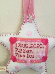 Baby girl personalised birth sampler