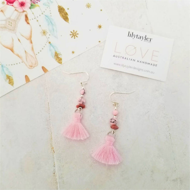 Sale! Pink Rhodonite Tassel Earrings