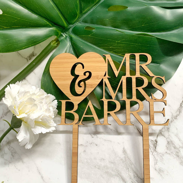 Personalised Mr & Mrs cake topper
