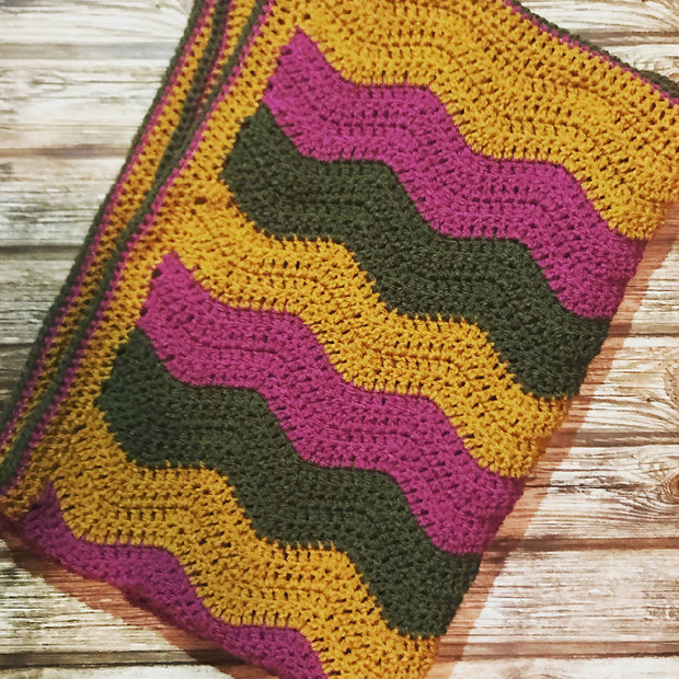 Retro ripple crochet baby blanket
