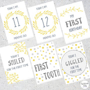 Yellow and Grey Baby Milestone Cards