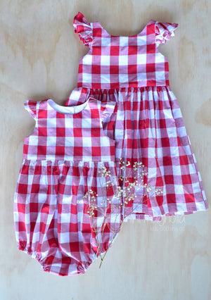 Joy Christmas gingham dress or romper