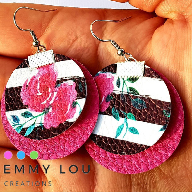 Pink Rose on Black & White Stripe & Pink Faux Leather Earrings