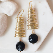 Onyx Matt Gold Ladder Earring