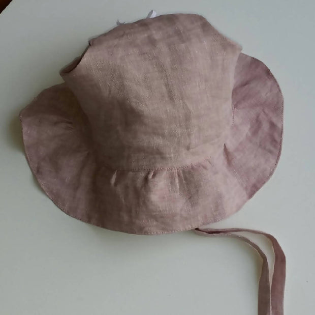 Adjustable Linen Bonnet with Ruffled Brim - Vintage Pink