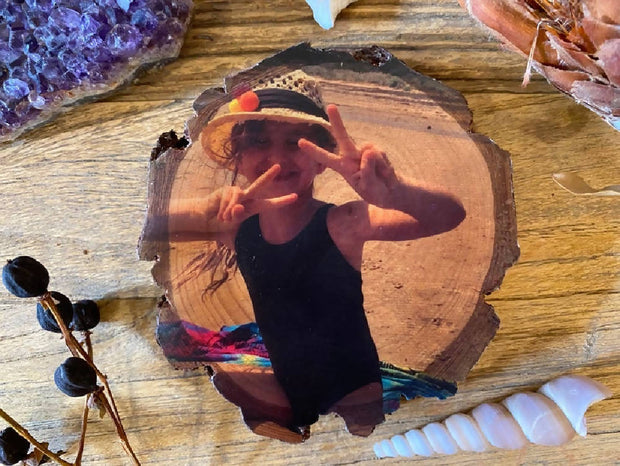 Wood Slice Photo Print - Personalised Gift, Handmade Wood Block, Rustic Photo Gift, Family Portrait Wood Slice, Photo on Wood