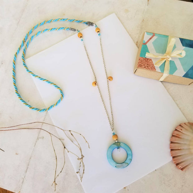 Blue Coral Shell Necklace