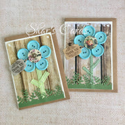 Button Flower Thankyou Cards, 2 pack