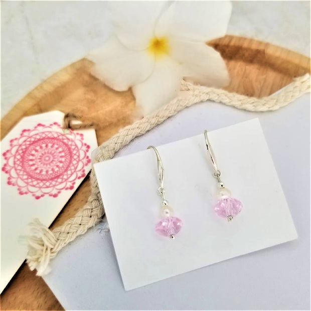 Pink Crystal Pearl Earrings
