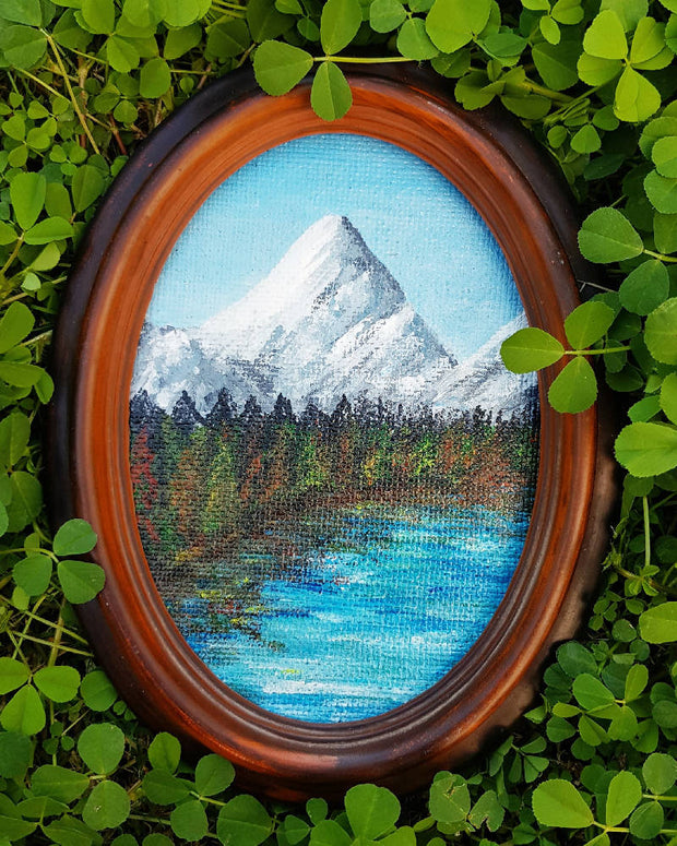 "Mountain Painting - Original Landscape in Oval Frame - ""Mountain Range No.2"""