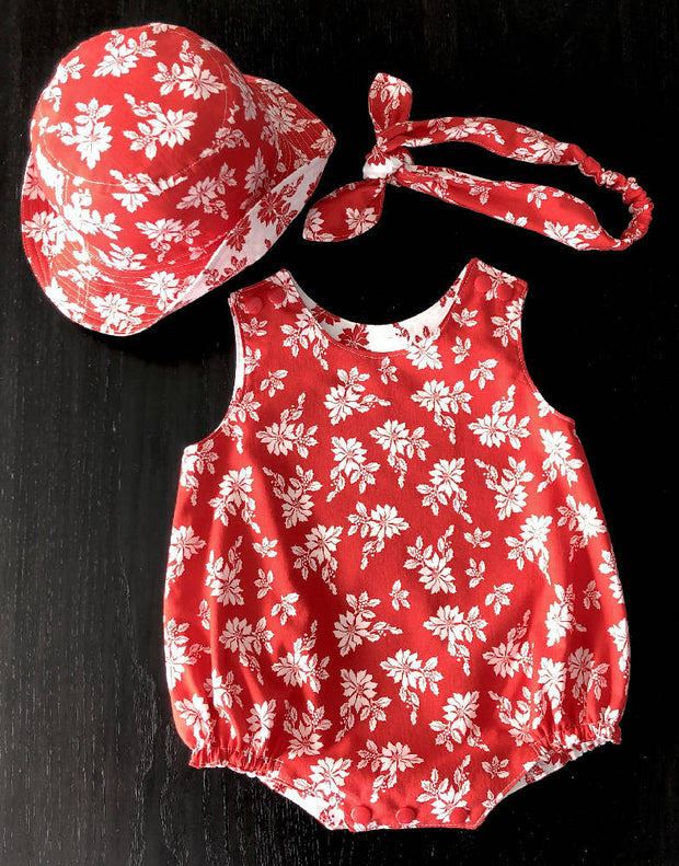 Baby's summer set - romper, hat & hairband