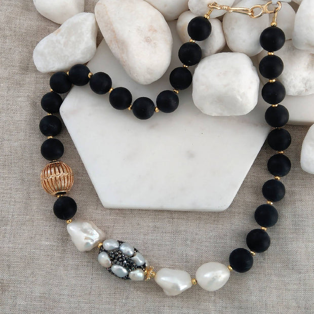 F.W.Pearl, Rhinestone Pearl and Matt Onyx gold filled necklace