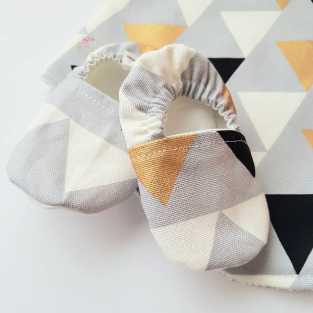Baby Gift Box-Grey and Gold Triangles