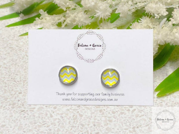 Yellow and Grey Chevron Earrings