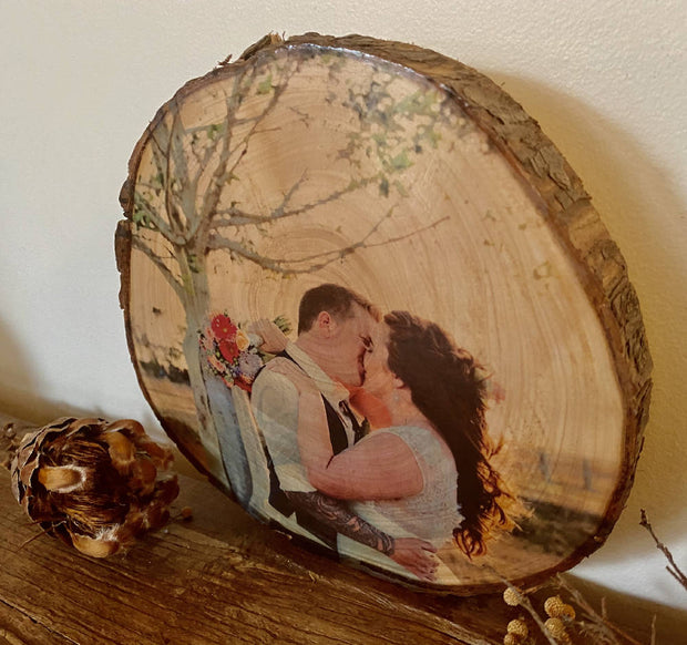 Wedding Wood Slice Photo Print - Anniversary Gift, Handmade Wood Block, Rustic Photo Gift, 5th Anniversary Present, Birthday Present, Gift for Him, Pine Wood Photo Block