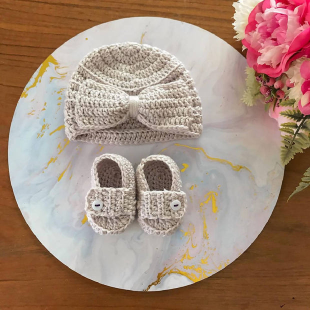 BOW TURBAN + LOAFERS SET - 0-3MO