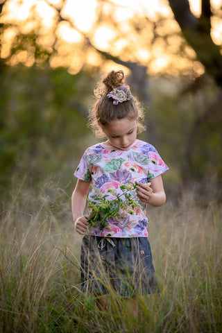 girls succulent t-shirt, girls summer top, toddler holiday shirt
